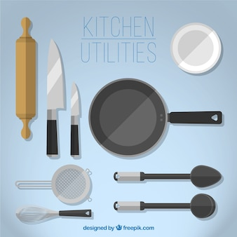 Variedade de utilitários de cozinha