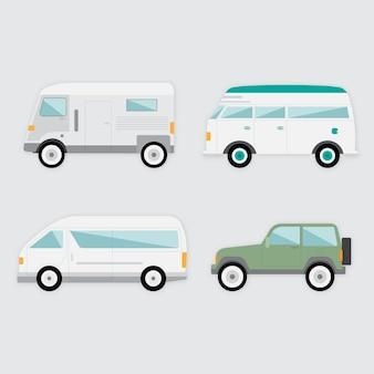 Variedade de veículos no design plano