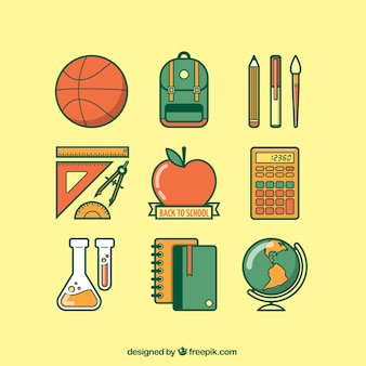 Variedade de volta aos ícones da escola