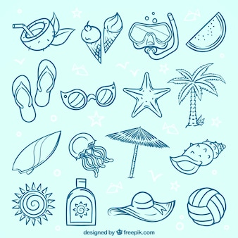 Variedade, decorativo, verão, itens, mão-drawn, estilo