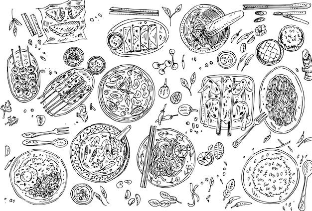 Variedade desenhada à mão de comida tailandesa