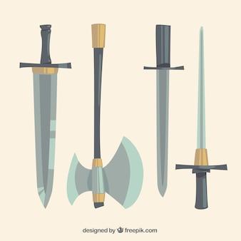 Variedade desenhada mão de armas medievais
