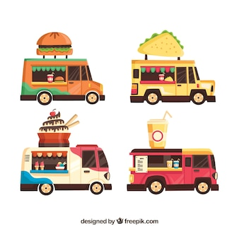 Variedade diversificada de caminhões de alimentos modernos