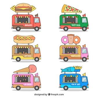 Variedade divertida de caminhões de comida desenhados à mão
