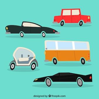 Variedade divertida de carros coloridos