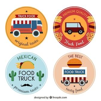 Variedade divertida de logos de caminhão de alimentos