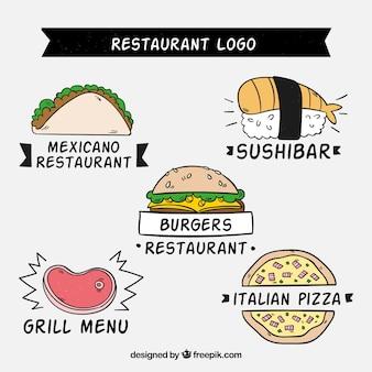 Variedade divertida de logos de restaurantes desenhados a mão