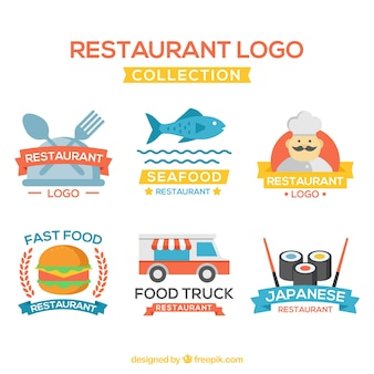 Variedade divertida de logos de restaurantes planos