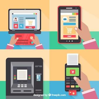 Variedade divertida de métodos de pagamento tecnológicos