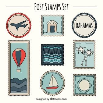 Variedade esboços de portes postais bonitos