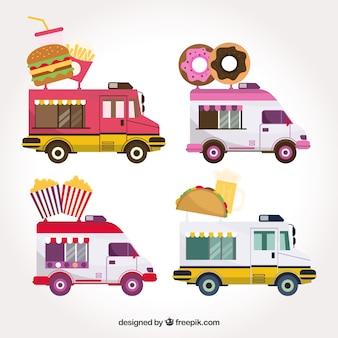 Variedade moderna de caminhão colorido para alimentos