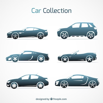 Variedade moderna de carros elegantes