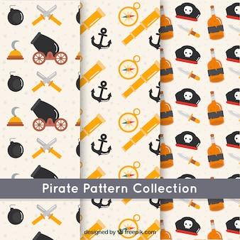 Variedade, pirata, padrões, apartamento, desenho