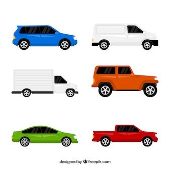 Variedade plana de automóveis coloridas