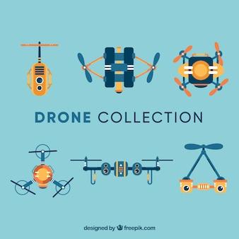 Variedade profissional de drones planos