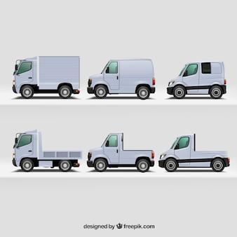 Variedade realista de caminhões modernos