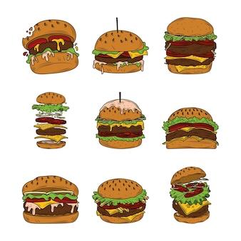 Variedades de hambúrguer, incluindo hambúrguer, cheeseburger, hambúrguer de bacon e hambúrguer de dois andares fast food