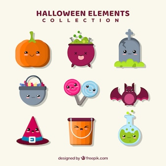 Variety of lovely halloween elements