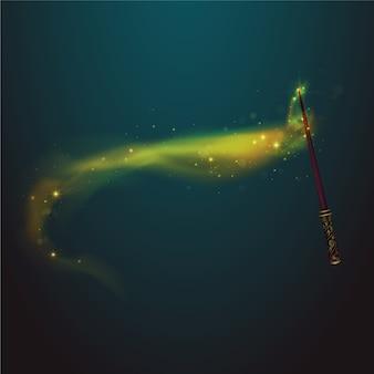 Varinha mágica, amarela, rastro, fundo