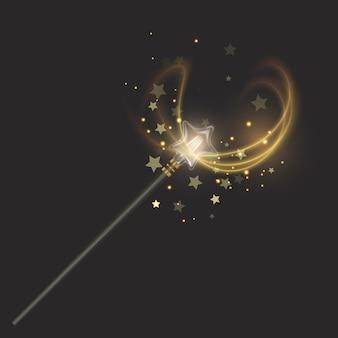 Varinha mágica. belos efeitos de luz com textura cintilante mágica