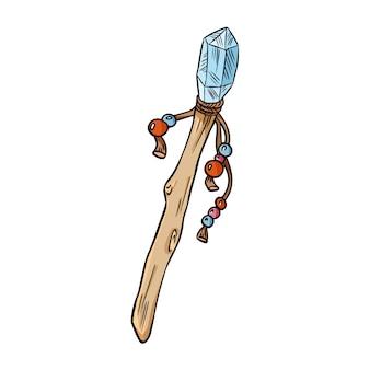Varinha mágica com doodle colorido de cristal
