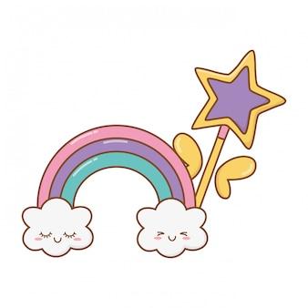 Varinha mágica com nuvem e arco-íris