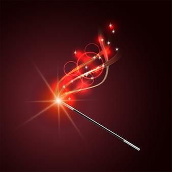 Varinha mágica com rastro de brilho vermelho mágico