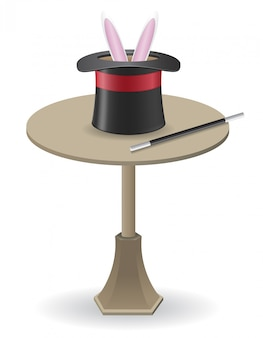 Varinha mágica e chapéu de cilindro em cima da mesa.