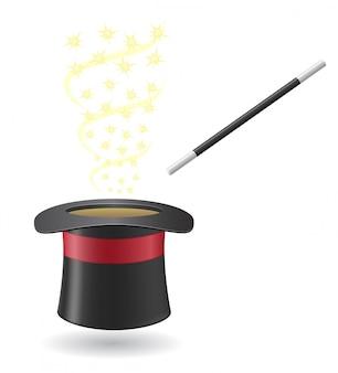 Varinha mágica e chapéu de cilindro.