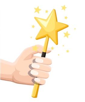 Varinha mágica em forma de estrela amarela com brilhos brilhantes. mão segure a varinha mágica. ilustração em fundo branco