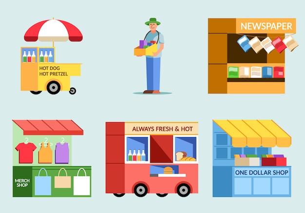 Vário da ilustração lisa do vendedor de alimento da rua.