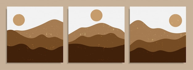 Vário projeto orgânico colorido abstrato do fundo da cópia da arte da forma. arte contemporânea vintage na moda mão desenhada paisagem do deserto cartaz para papel de parede