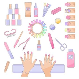 Vários acessórios de manicure com ferramentas, equipamentos de mãos, lixa de unha, tesoura de unha, pinça