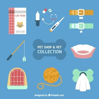 Vários acessórios para animais de estimação