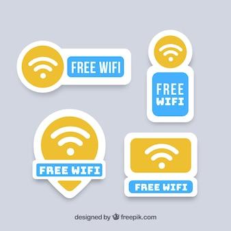 Vários adesivos wifi com elementos azuis