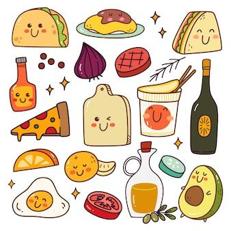 Vários alimentos e lanches kawaii doodle set