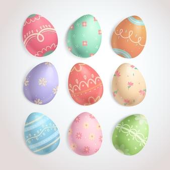 Vários ângulos de coleção de ovos de páscoa