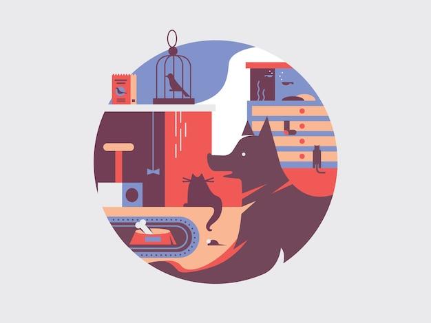 Vários animais de estimação em design plano
