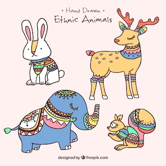 Vários animais étnicos mão desenhadas