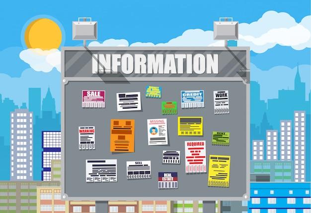 Vários anúncios de documentos destacáveis no quadro de avisos