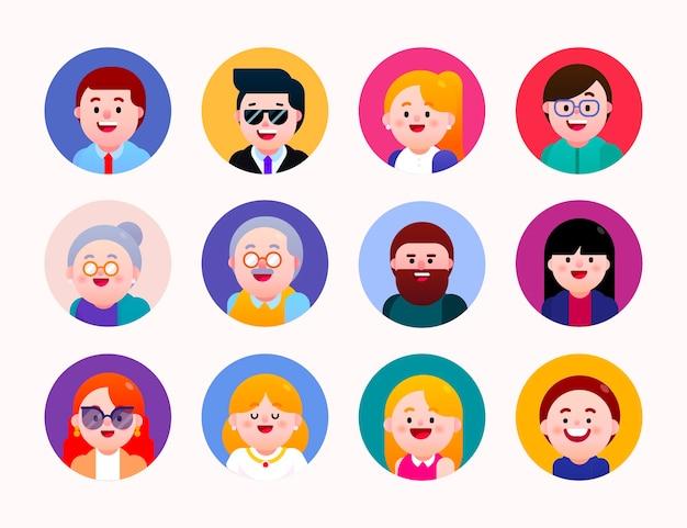 Vários avatares de personagens em forma de círculo