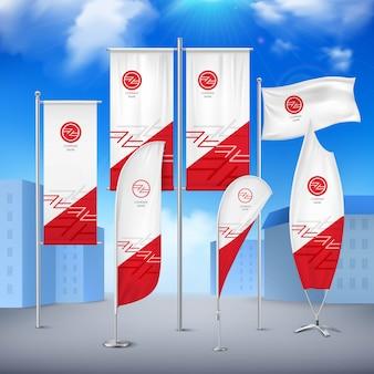 Vários banners de bandeiras de pólo