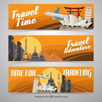 Vários banners de monumentos em design plano