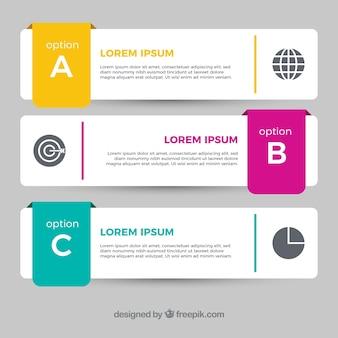 Vários banners infográfico com detalhes de cores no design plano