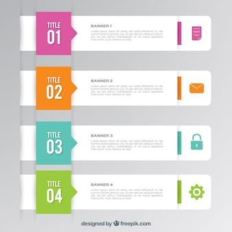 Vários banners infográfico com elementos coloridos