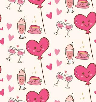 Vários bebida com balão de coração rosa em fundo kawaii