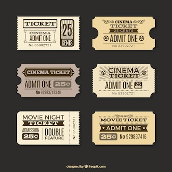 Vários bilhetes de cinema do vintage