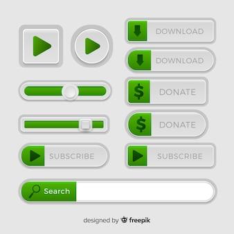 Vários botões web em estilo gradiente