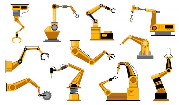 Vários braços de robôs de fabricação