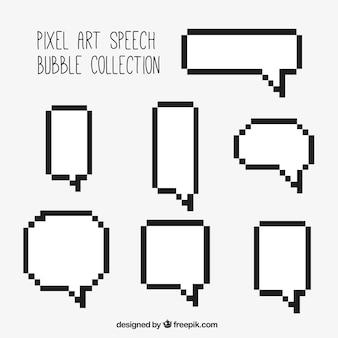 Vários branca do discurso borbulha com contorno preto pixelizada